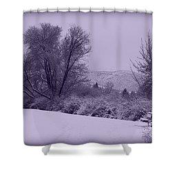 Snowy Bench In Purple Shower Curtain by Carol Groenen