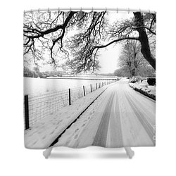 Snowy Lane Shower Curtain by Adrian Evans
