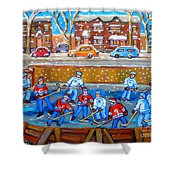 Snowy Rink Hockey Game Montreal Memories Winter Street Scene Painting Carole Spandau Shower Curtain by Carole Spandau