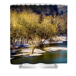 Snowy River Shower Curtain by Karen Wiles