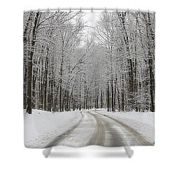 Snowy Road In Oak Openings 7058 Shower Curtain by Jack Schultz