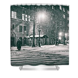Snowy Winter Night - Sutton Place - New York City Shower Curtain by Vivienne Gucwa