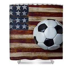Soccer Ball And Stars And Stripes Shower Curtain by Garry Gay
