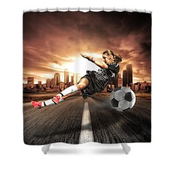 Soccer Girl Shower Curtain by Erik Brede