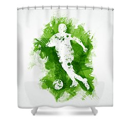 Soccer Player Shower Curtain by Aged Pixel