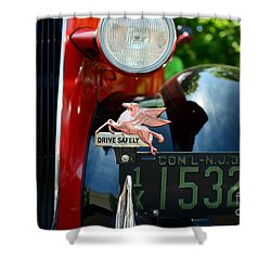 Socony Pegasus License Plate Topper Shower Curtain by Paul Ward