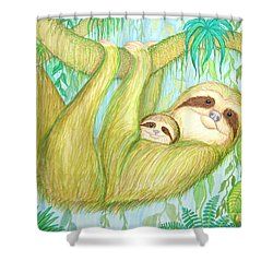 Soggy Mossy Sloth Shower Curtain by Nick Gustafson