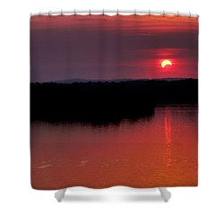 Solar Eclipse Sunset Shower Curtain by Jason Politte