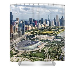 Soldier Field And Chicago Skyline Shower Curtain by Adam Romanowicz