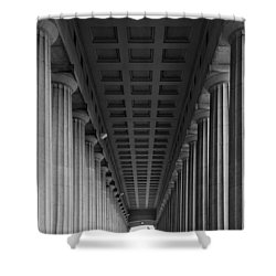 Soldier Field Colonnade Chicago B W B W Shower Curtain by Steve Gadomski