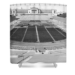 Soldier's Field Boxing Match Shower Curtain by Underwood Archives