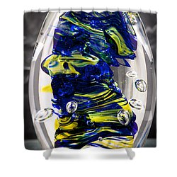 Solid Glass Sculpture -13e4- Cobalt And Yellow  Shower Curtain by David Patterson