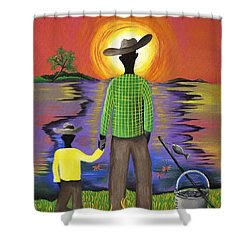 Son Raise Shower Curtain by Patricia Sabree