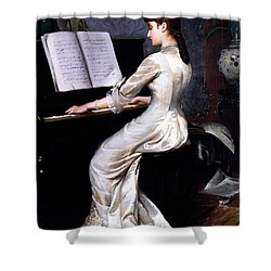 Song Without Words, Piano Player, 1880 Shower Curtain by George Hamilton Barrable
