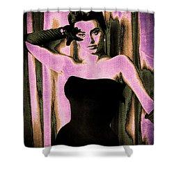 Sophia Loren - Purple Pop Art Shower Curtain by Absinthe Art By Michelle LeAnn Scott