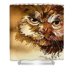 Sour Puss Shower Curtain by Sherry Shipley