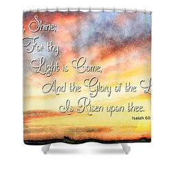 Southern Sunset - Digital Paint IIi With Verse Shower Curtain by Debbie Portwood