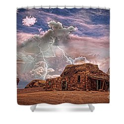 Southwest Navajo Rock House And Lightning Strikes Hdr Shower Curtain by James BO  Insogna