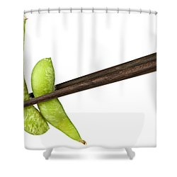 Soy Beans With Chopsticks Shower Curtain by Elena Elisseeva