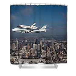 Space Shuttle Endeavour Over Houston Texas Shower Curtain by Movie Poster Prints