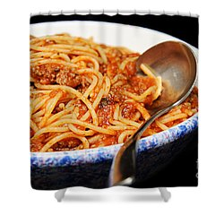 Spaghetti And Meat Sauce With Spoon Shower Curtain by Andee Design