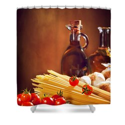 Spaghetti Pasta With Tomatoes And Garlic Shower Curtain by Amanda Elwell