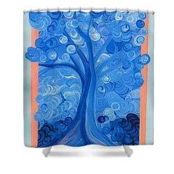 Spiral Tree Winter Blue Shower Curtain by First Star Art