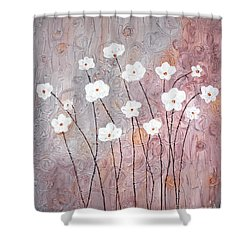 Spiral Whites Shower Curtain by Home Art