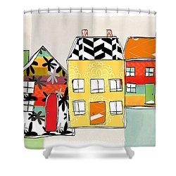 Spirit House Row Shower Curtain by Linda Woods
