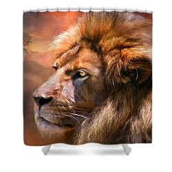 Spirit Of The Lion Shower Curtain by Carol Cavalaris