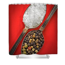 Spoonfuls Of Salt And Pepper Shower Curtain by Susan Candelario