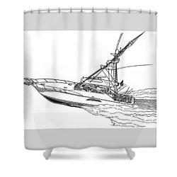 Sportfishing Yacht Shower Curtain by Jack Pumphrey