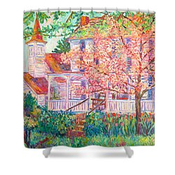 Spring Church Scene Shower Curtain by Kendall Kessler