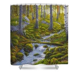 Spring Creek Shower Curtain by Veikko Suikkanen