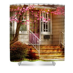 Spring - Door - Dogwood  Shower Curtain by Mike Savad