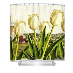 Spring Down On The Farm Shower Curtain by Edward Fielding