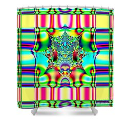 Spring Plaid Fabric Fractal Shower Curtain by Rose Santuci-Sofranko