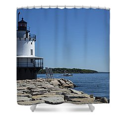 Spring Point Ledge Light Shower Curtain by Karol Livote