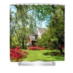 Spring - Suburban House With Azaleas Shower Curtain by Susan Savad