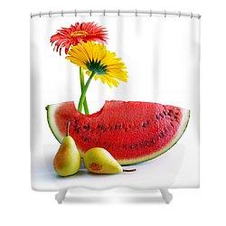 Spring Watermelon Shower Curtain by Carlos Caetano