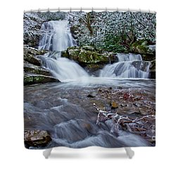 Spruce Flats Falls II Shower Curtain by Douglas Stucky