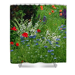 Squarely Spring Floral Garden Shower Curtain by Byron Varvarigos