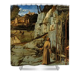 St Francis Of Assisi In The Desert Shower Curtain by Giovanni Bellini