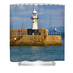 St Ives And Godrevy Lighthouses Cornwall Shower Curtain by Terri Waters