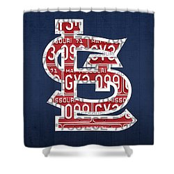 St. Louis Cardinals Baseball Vintage Logo License Plate Art Shower Curtain by Design Turnpike