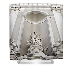 St Michael Church Sculptures In Budapest Shower Curtain by Artur Bogacki