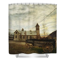 St. Pauls Anglican Church With Wagon  Shower Curtain by Priska Wettstein