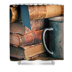 Stack Of Vintage Books Shower Curtain by Jill Battaglia