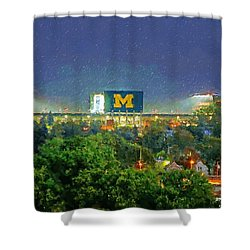 Stadium At Night Shower Curtain by John Farr