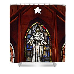 Stained Glass Saviour Shower Curtain by Al Powell Photography USA